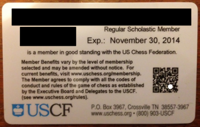 USCF Member Card-back