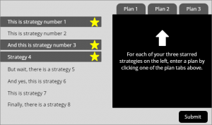 selected strategies and planning tabs