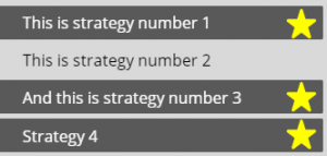selected strategies with yellow stars