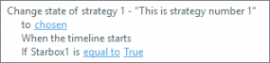 Storyline trigger for strategy text